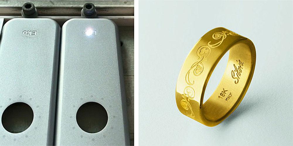 Máy khắc laser JPT khắc sâu trên vàng và nhôm