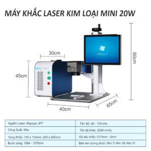 Máy khắc laser kim loại mini 20w, 30w, 50w