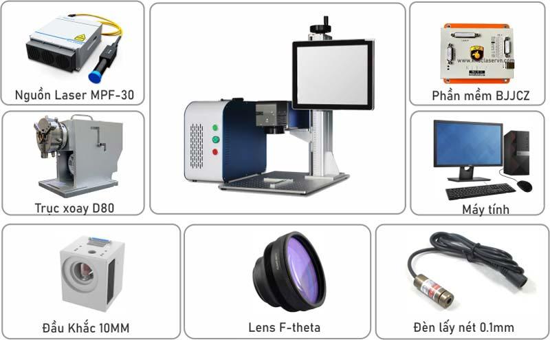Máy khắc laser kim loại mini với nhiều loại phụ kiện